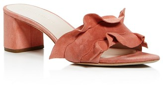 Loeffler Randall Vera Ruffle Block Heel Slide Sandals $325 thestylecure.com