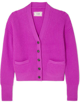 RE/DONE Ribbed Wool And Cashmere-blend Cardigan - Magenta