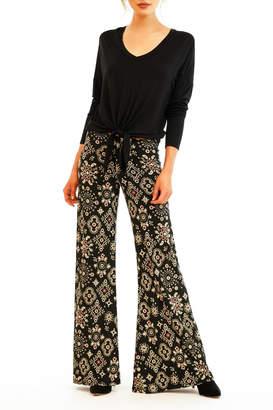 Veronica M Print Wide Leg No Pocket Pant