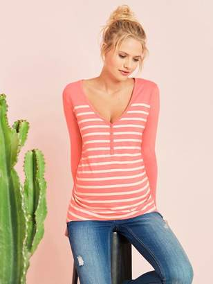 Grandad-Style Long-Sleeved Maternity and Nursing T-Shirt - pink light striped