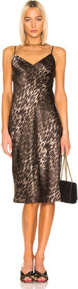 L'Agence Jodie V Neck Slip Dress in Camila Leopard | FWRD