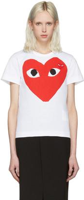 Comme des Garçons Play White Double Heart T-Shirt $120 thestylecure.com