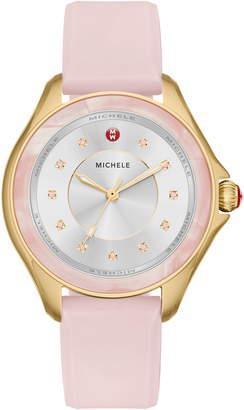 Michele Cape Topaz Dial Silicone Strap Watch, 38mm