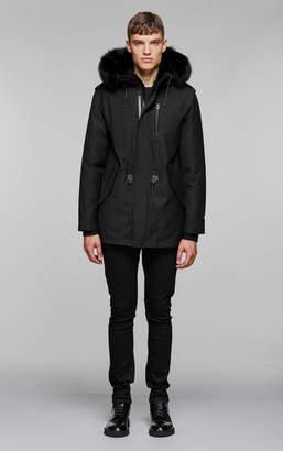 Mackage SETH-X hip length twill parka with hood and natural fur
