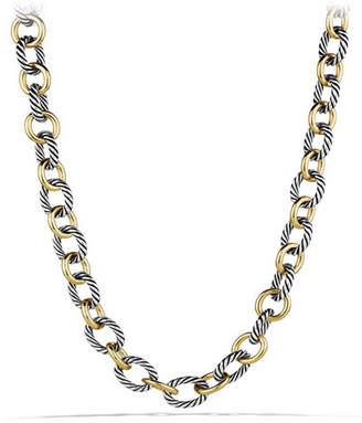 David Yurman Large Sterling Silver & 18K Gold Oval Link Necklace
