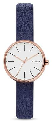 Skagen Signature Leather Strap Watch, 30mm