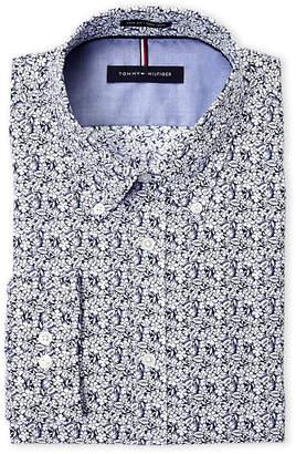 Tommy Hilfiger Midnight Blue Floral Slim Fit Non-Iron Button-Down Dress Shirt