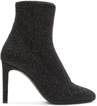 Giuseppe Zanotti Black Stretch Lurex Boots $695 thestylecure.com