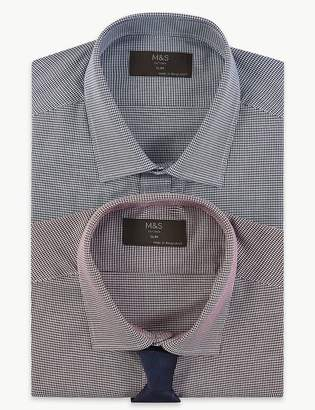 Marks and Spencer 2 Pack Cotton Blend Slim Fit Shirts with Tie