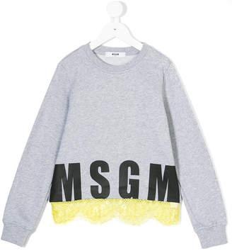 MSGM ruffle detail logo sweater
