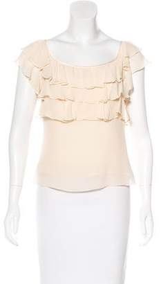 Temperley London Ruffle-Trimmed Silk Top
