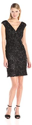 Marina Women's Missy Cap Sleeve Floral Sequined V-Neck Dress $109 thestylecure.com