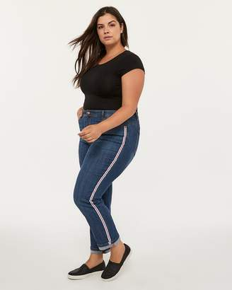 Slightly Curvy Straight Leg Boyfriend Jean with Side Stripe - d/C JEANS