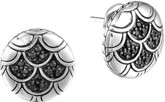 John Hardy Naga Silver Lava Button Earrings with Black Sapphire