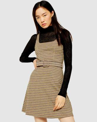 Topshop Jacquard Belted Pinafore Dress