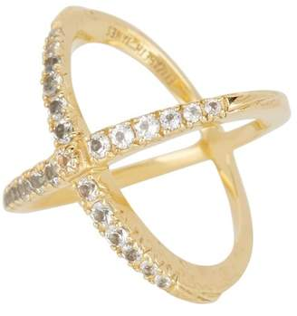 Elizabeth and James Windrose Pave White Topaz Crisscross Ring - Size 6