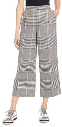 Halogen x Atlantic-Pacific Plaid Wide Leg Crop Pants