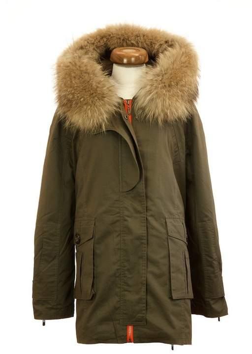 Popski London Green Parka Jacket With Natural Raccoon Fur Collar