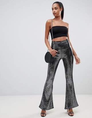 PrettyLittleThing flare pants in black sequin