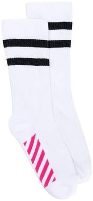 Off-White striped logo socks