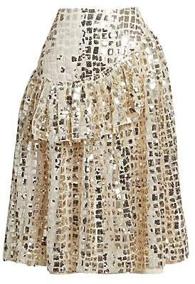 Simone Rocha Women's Sequined Drop-Waist Skirt