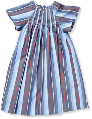 Elephantito Stripe Smocked Cotton Tunic Dress