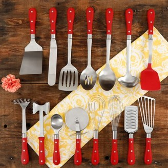 The Pioneer Woman Frontier Collection 15-Piece All in One Kitchen Utensil Set, Red
