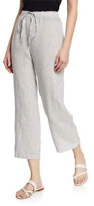 Eileen Fisher Plus Size Mini-Stripe Handkerchief Linen Cropped Drawstring Pants