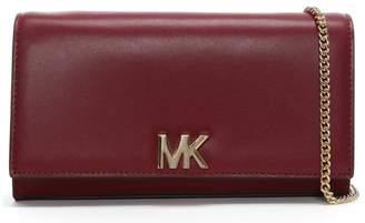 Michael Kors Large Mott Maroon Leather Clutch Bag