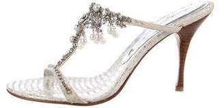 Beverly Feldman Python Slide Sandals