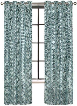 Asstd National Brand Colordrift Santana Flocked Grommet-Top Curtain Panel