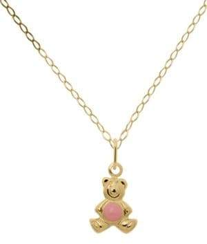 Lord & Taylor 14K Yellow Gold Bear Pendant Necklace