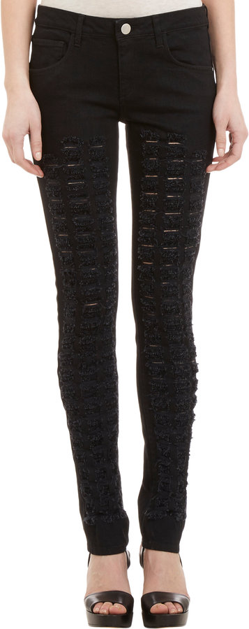 Theyskens' Theory Check-Fringe Detailed Payden S Jeans