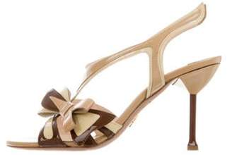 Prada Bow-Accented T-Strap Sandals Tan Bow-Accented T-Strap Sandals