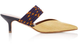 Malone Souliers by Roy Luwolt Maisie Cord-Trimmed Raffia And Leather Mules