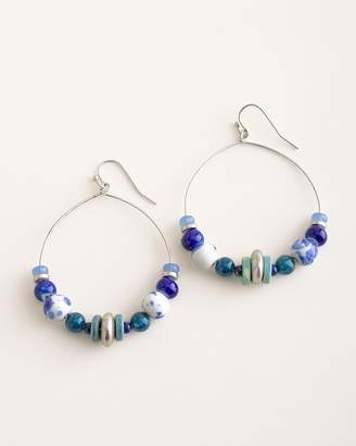 Chico's Chicos Blue Geometric Hoop Earrings
