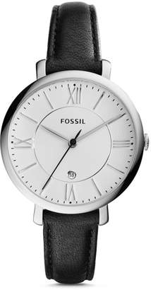 Fossil Jacqueline Three-Hand Date Black Leather Watch