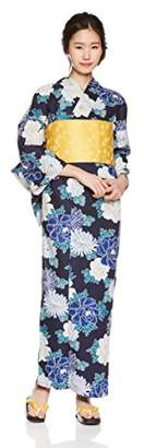 N. (エヌナチュラルビューティーベーシック) - [夏日記]浴衣5点セット(浴衣/結び帯/下駄/こしひも1本/専用収納袋) すぐに出かけられる嬉しいフルセット 2018年モデル レディース 紺×青 日本 F (FREE サイズ)