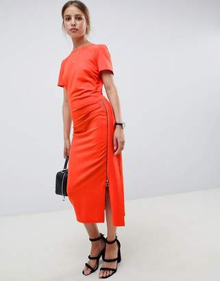 Asos Design DESIGN ruched side midi dress with zip