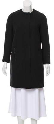 Vince Leather-Trim Knee-Length Coat