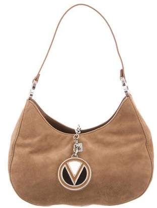 Valentino Leather-Trimmed Suede Bag