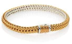 John Hardy Classic Chain 18K Yellow Gold& Sterling Silver Small Reversible Bracelet