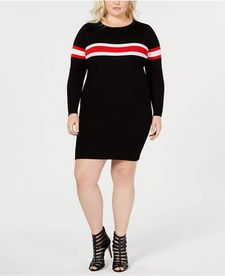 58c6f9f61387d Say What Trendy Plus Size Striped Sweater Dress