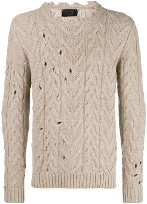 Overcome distressed chunky knit jumper