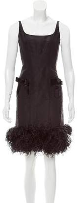 Oscar de la Renta Feather-Trimmed Midi Dress