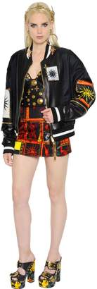 Fausto Puglisi Nylon & Leather Bomber Jacket