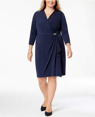 Charter Club Plus Size Faux-Wrap Dress