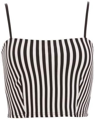 Quiz White And Black Stripe Crop Top