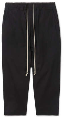 Rick Owens Cropped Stretch-Cotton Ripstop Drawstring Trousers - Men - Black