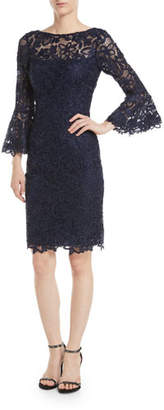 Rickie Freeman For Teri Jon Bell-Sleeve Sheath Cocktail Dress in Lace
